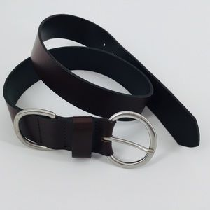 Dark Brown Medium Leather Belt M Made In USA